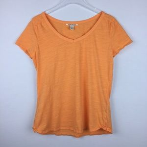 Lucky Brand L Orange Short Sleeve Top 7W60790